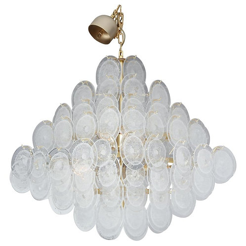 Large Clear Bubble Murano Glass Disc Chandelier in Double Pyramid Shape