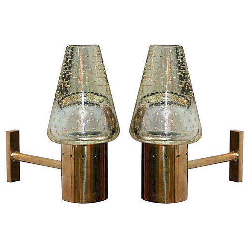 Pair of Vintage Seguso Glass Sconces