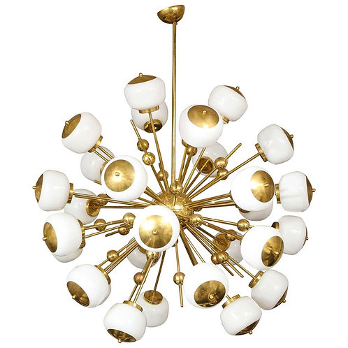 Stunning Large Milk Glass Globe Sputnik Chandelier with Spheres in Brass
