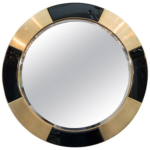 Black and Brass Frame Circle Mirror