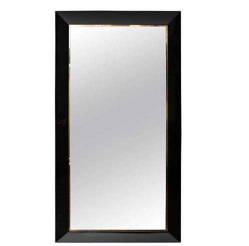 Custom Black Glass and Brass Full Length Mirror