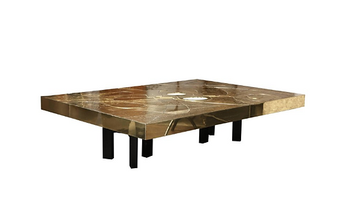 Spectacular Etched Brass and Double Agate Rectangular Cocktail Table