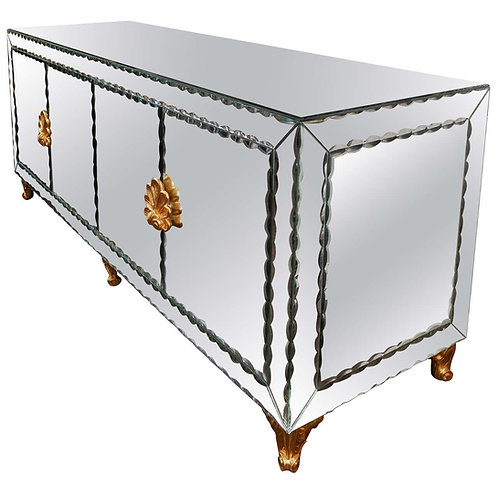 Mirrored Buffet with Pie Crust Beveled Edges and Gold Leaf Hardware