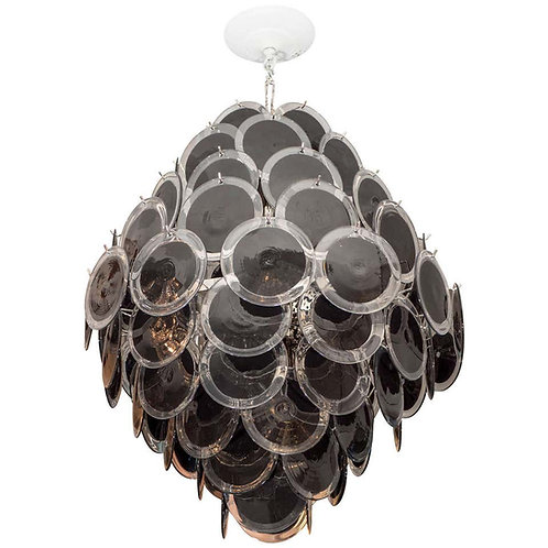 Black Murano Glass Disc Chandelier in Double Cone Shape