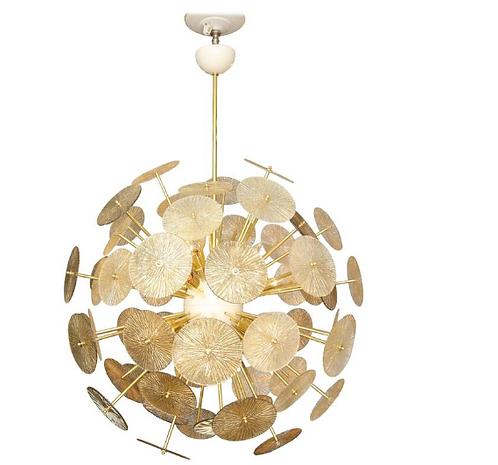 Gold Murano Glass Parasol Sputnik Chandelier