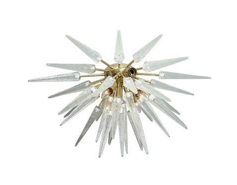 Clear Murano Glass Spike Sputnik Flush Mount