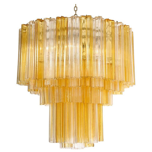 Monumental Venini Tiered Clear and Amber Tronchi Glass Chandelier