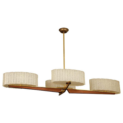 Mid-Century Oval Brass and Teak Chandelier with Textured Resin Shades