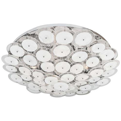White Murano Glass Disc Flush Mount Light