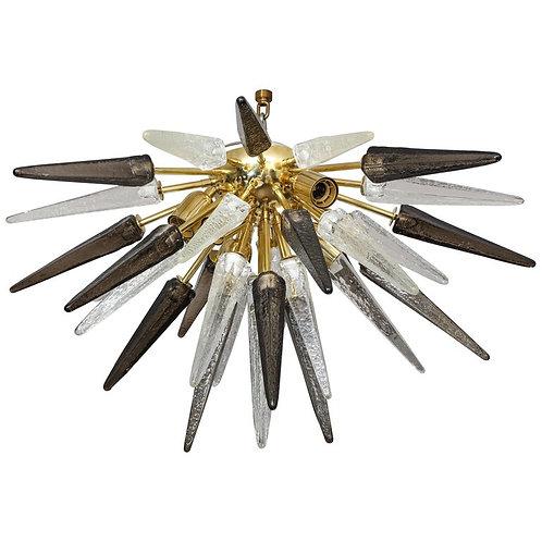 Custom Murano Clear and Smoke Glass Spike Flush Mount, Polished Brass