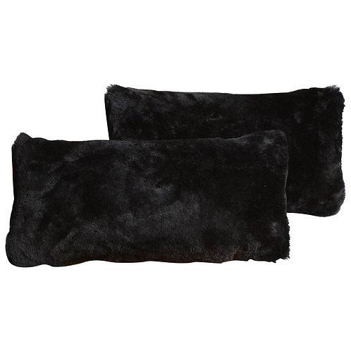 Genuine Black Shearling Lumbar Pillow
