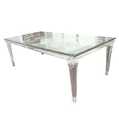 Lucite Dining Table With Banded Legs And Gl Top