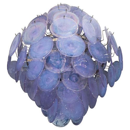 Alex Iridescent Murano Glass Disc Chandelier in Double Cone Shape