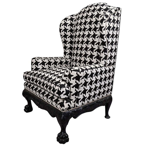 Ball and Claw Houndstooth English Wing Chair with Nickel Nailheads