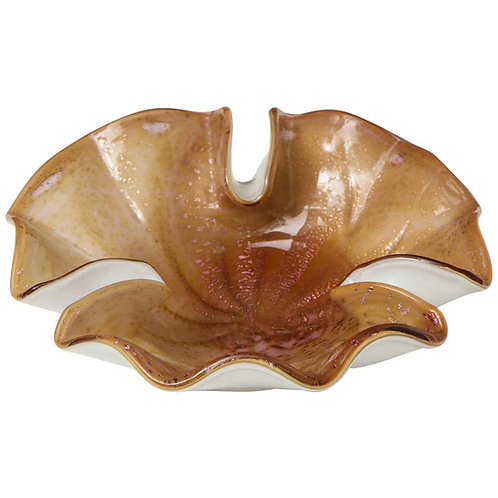 Vintage Italian Murano Glass Leaf Bowl in Amber Color