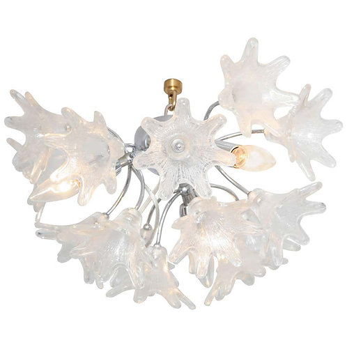 Vintage Floral Murano Glass Flush Mount