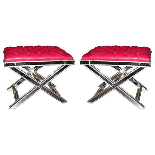 Pair of Silver Trim Mirrored X-Band Benches with Red Tufted Leather Top