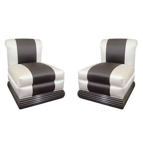 Pair of 1930's Art Deco Slipper Chairs