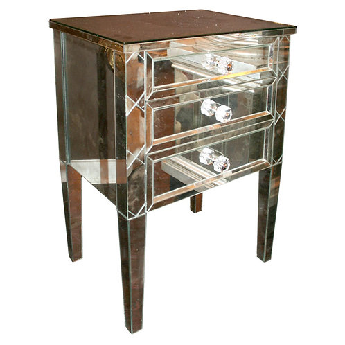Neoclassical Modern 3-Drawer X-Front Beveled Mirror Nightstand