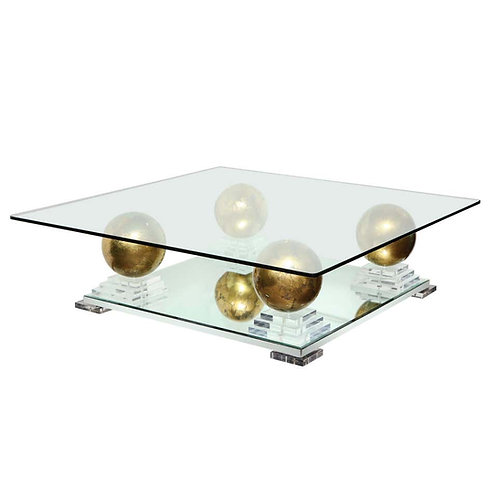 Magnificent Glass Coffee Table with Mirror & Lucite Base with Gold Spheres