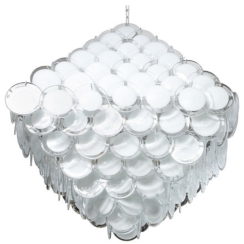 Huge White Murano Glass Disc Chandelier in Double Pyramid Shape