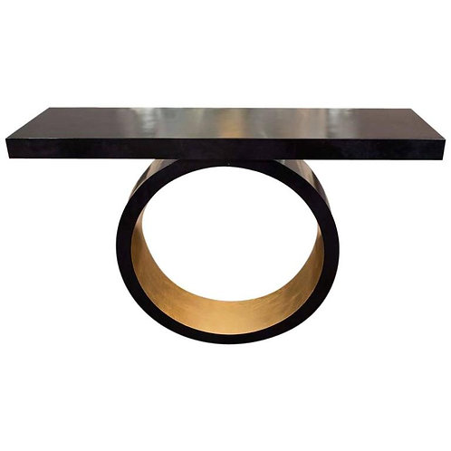 Custom Black Parchment Circle Console with Gold Leaf Interior