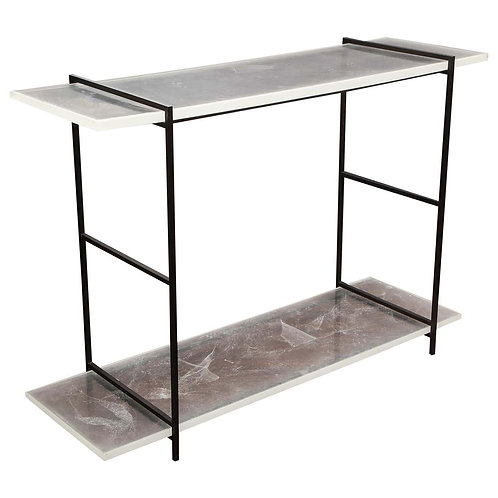 Novelty Stardust Acrylic Console Table with Solid Metal Legs
