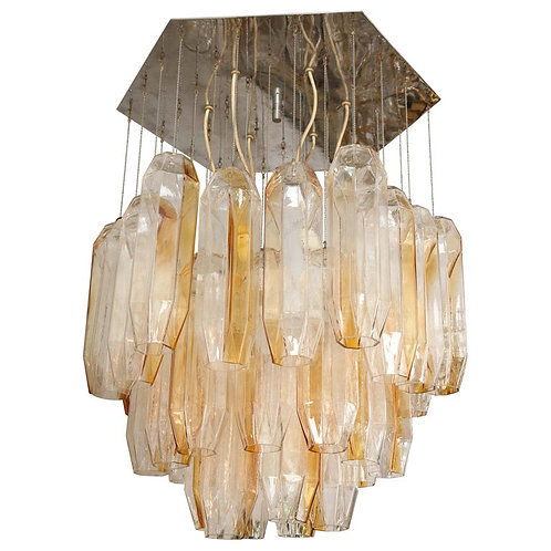Vintage Pair Bi-Color Murano Glass Chandelier