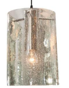 Custom Silver Seeded Glass Tubular Pendant