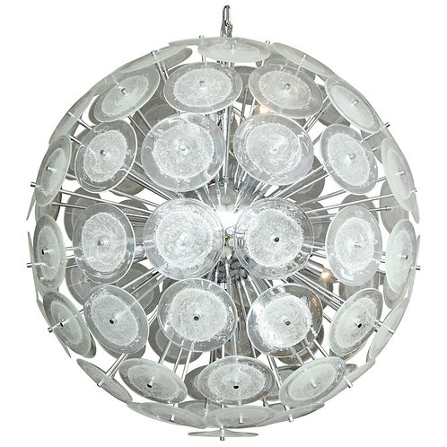 Large Clear Bubble Murano Glass Disc Sputnik Chandelier