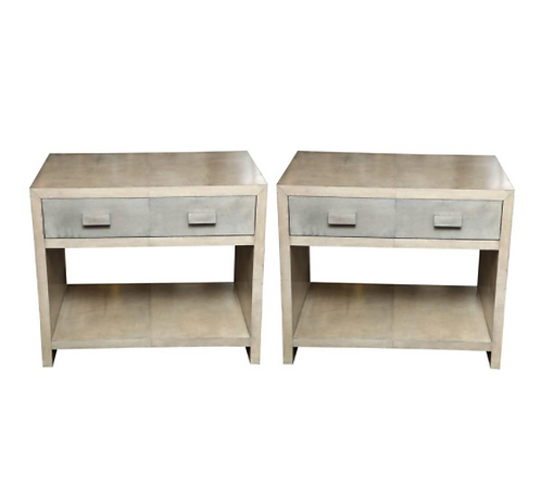 Pair of Two-Tone Parchment Nightstands