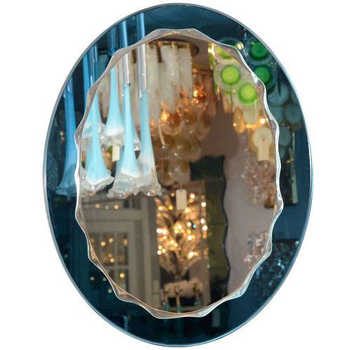 Custom Oval Wave Mirror in Cerulean Blue Mirror Frame