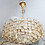 Thumbnail: Vintage Palwa Square Glass and Brass Chandelier