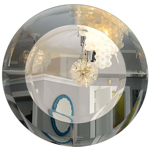 Round Beveled Mirror with Smoke Glass Border in the Manner of Karl Springer
