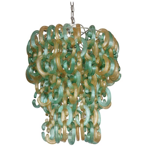 Green and Gold Murano Glass C Link Chandelier