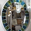 Thumbnail: Custom Oval Mirror with Blue and Green Beveled Mirror Squares Surround