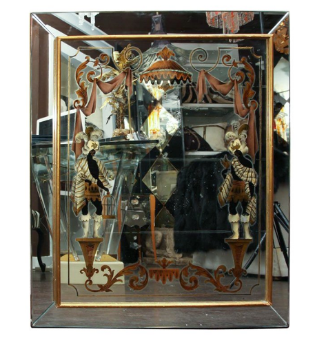 Vintage 1940's Reverse Painted Mirror with Colonial Slaves