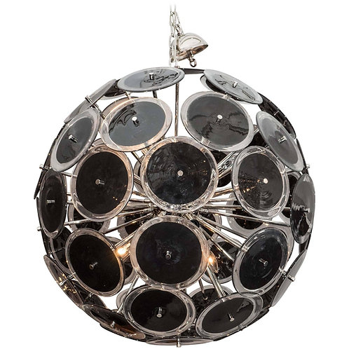 Black Murano Glass Disc Sputnik Chandelier