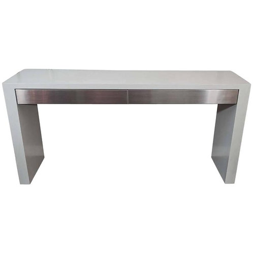 Custom Gray Stained Console with Brushed Stainless Steel Drawers