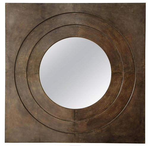 Custom Circle Mirror in Square Parchment Frame