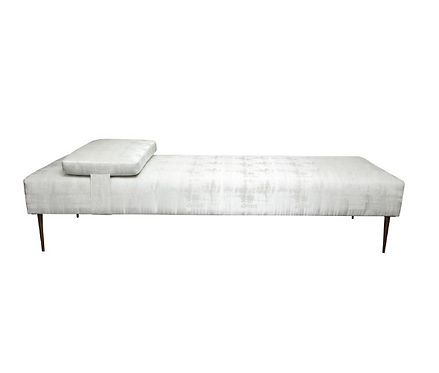 Sleek Custom Daybed with Removable Pillow and Brass Legs