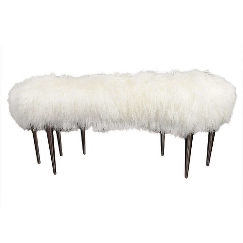 Curved Mongolian Fur Bench with Stainless Steel Legs