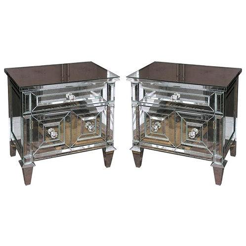 Pair of Neoclassical Modern Mirrored Cabinet Nightstands