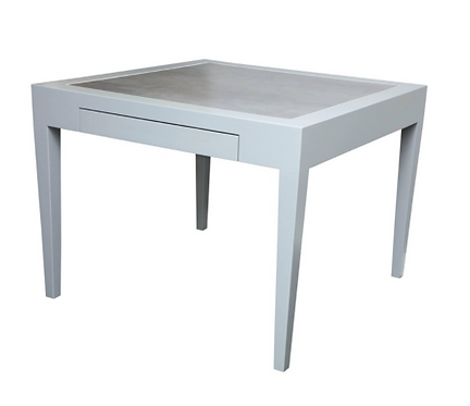 Metallic Grey Leather and Lacquer Game Table