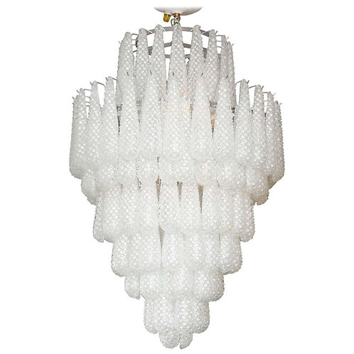 Custom Large Murano Honeycomb Glass Chandelier