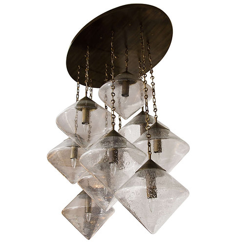 Custom Prism Globe Chandelier in Antique Brass Finish