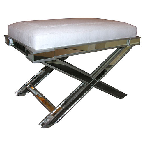 Silver Trim Mirrored X-Band Bench with White Velour Top