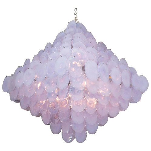 Huge Alex Iridescent Murano Glass Disc Chandelier in Double Pyramid Shape