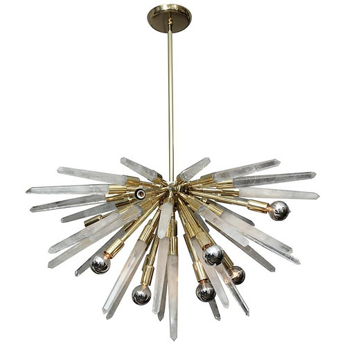 Brazilian Rock Crystal Half Sputnik Chandelier