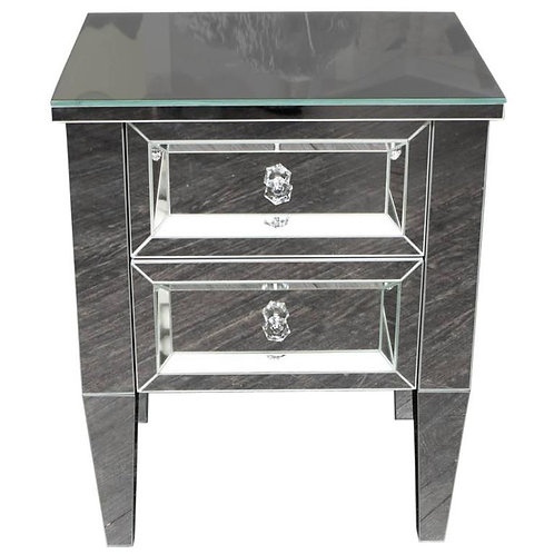 Custom Two-Drawer Mirrored Commode